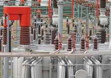 Electricity from transformer high voltage Royalty Free Stock Image