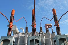 Electricity transformer high voltage Royalty Free Stock Photo