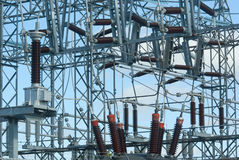 electricity transformer power station high voltage Royalty Free Stock Photo