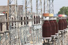 Electricity transformer station Royalty Free Stock Images
