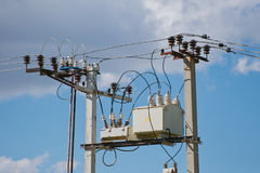 Electricity transformer. Step down transformer near your home Stock Photo