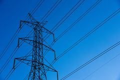 Free Electricity Transmission And Blue Sky At Dusk , Power Tower  At Bangkok In Thailand Stock Photography - 102533282