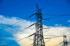 Electricity transmission and blue sky at dusk , Power Tower  at bangkok in thailand. Electricity transmission and blue sky at dusk , Power Tower  at bangkok in Royalty Free Stock Photo