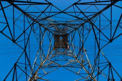 Electricity transmission and blue sky at dusk , Power Tower  at bangkok in thailand. Electricity transmission and blue sky at dusk , Power Tower  at bangkok in Stock Images