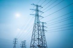 Electricity transmission closeup Royalty Free Stock Photos
