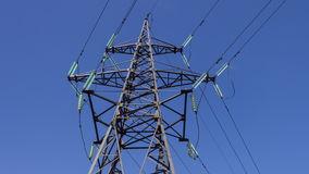 Electricity transmission. High-voltage wires on an electrical support. Generators insulators power. Renewable energy.  stock video footage