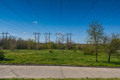 Electricity transmission line Royalty Free Stock Photos