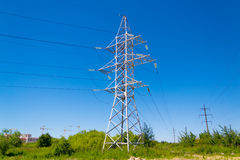 Electricity transmission line. Power lines against the sky Royalty Free Stock Images