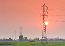 Electricity transmission pylon  in the field on sunset Stock Photography