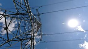 Electricity transmission pylon. The silhouette of the electricity transmission pylon