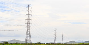 Electricity transmission pylons. These electricity transmission pylons help distribute the power into the rural area Stock Photos