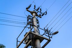 Electricity Transmission Tower In Blue Sky Royalty Free Stock Images