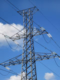 Electricity transmission tower. With cables and insulators stock photos
