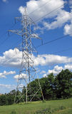 Electricity transmission tower. In a park-like setting stock images