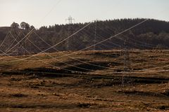 Electricity transmission towers stock photography
