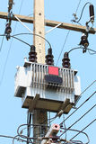 Electricity transmission towers Stock Photos