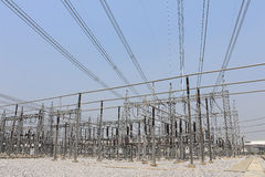 Electricity transmission yard Stock Images