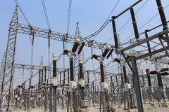 Electricity transmission yard Royalty Free Stock Photo