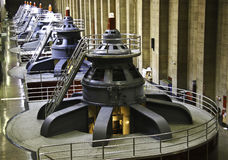 Electricity Turbines. Turbines inside Hoover Dam in Arizona stock photography