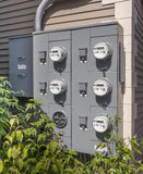 Electricity usage meters Stock Photos
