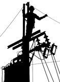 Electricity utility worker silhouette Stock Images