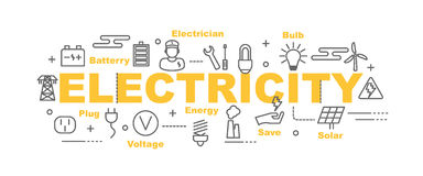 Electricity vector banner. Design concept, flat style with thin line art icons on white background Stock Photos