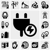 Electricity vector icon set. Electricity icons set  on grey background.EPS file available Stock Photography