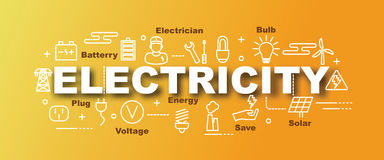 Electricity vector trendy banner. Design concept, modern style with thin line art icons on gradient colors background Royalty Free Stock Image