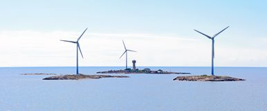 Electricity wind generators at sea. Royalty Free Stock Photo