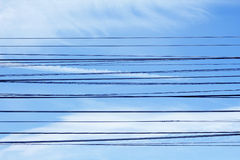 Electricity wires with blue sky Royalty Free Stock Image