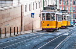 Electrico 28, Yellow Tram, Lisbon, Portugal. LISBON, PORTUGAL - MARCH 10: Image with Yellow Tram taken on March 10, 2010, in Lisbon, Portugal. Electrico 28 is royalty free stock photo