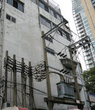 Electrics. Open air electrical equipment serving nearby buildings, here in Bangkok, Thailand stock photos