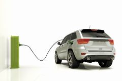 Electrict car plugged to a power station. 3D render of an electrict car plugged to a power station Royalty Free Stock Photography