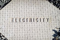 Electricty. Electricity word on concrete manhole cover Stock Image