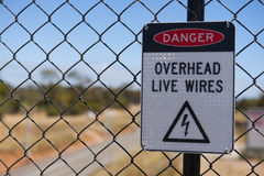 Electricty warning Sign. Sign warning of live wires over an electric railway Royalty Free Stock Images