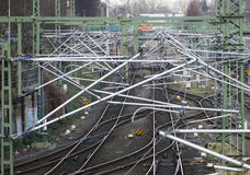 Electrification of the railway above the tracks Stock Photos