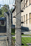 Electrified barbed-wire fences in Auschwitz II-Birkenau camp in Brzezinka, Poland. Stock Photos