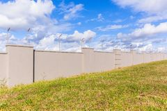 Electrified Fence Boundary Gray Wall Stock Images