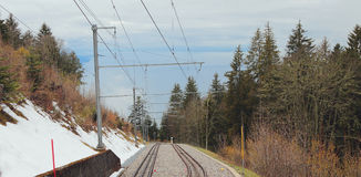 Electrified mountain railroad. Paccot, Montreux, Switzerland Royalty Free Stock Photography