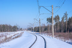 Electrified railway line. Royalty Free Stock Photography