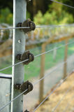 Electrified security fence and razor wire. Stock Image