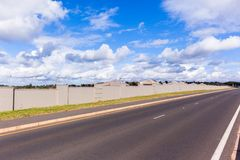 Electrified Fence Boundary Wall Road Royalty Free Stock Images
