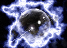 Electrifying. A planet cought in the middle of a lightning storm Stock Photos