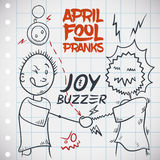 Electrifying Hand Shake with Joy Buzzer for April Fools' Day, Vector Illustration. Funny joy buzzer prank for April Fools' Day with a draw of a man being shocked Stock Photography