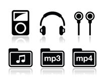 Mp3 player  icons set Stock Photo