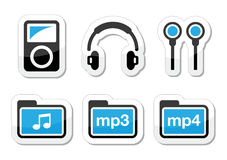 Mp3 player  icons set Stock Image