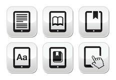 E -book读者,被设置的e读者按钮 库存图片
