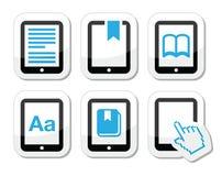 E -book读者,被设置的e读者象 图库摄影