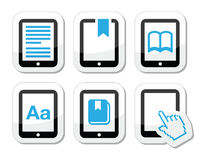 E-book reader, e-reader  icons set Stock Photography
