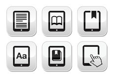 E-book reader, e-reader  buttons set Stock Image